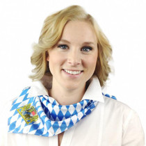 Bavarian Scarf, blue & white diamonds