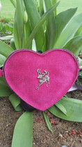 Shoulder bag heart shape - genuine suede - riser adjustable - closure / pushbutton - Stag motiv large with Swarovski