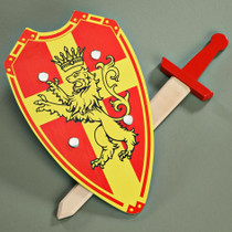 Wooden Lion Shield & Sword Set Slay the dragon and rescue the princess/prince. For little Hero's and Heroine's  Imported from Germany