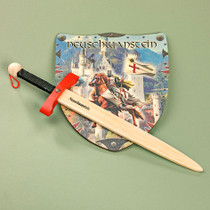 Wooden Neuschwanstein Castle Sword & Shield Slay the dragon and rescue the princess/prince. For little Hero's and Heroine's Imported from Germany