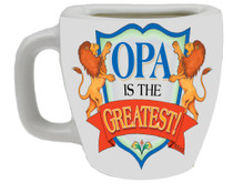 "Decorative ceramic mug kitchen magnet featuring the saying ""Opa is the Greatest"" Material: Ceramic"