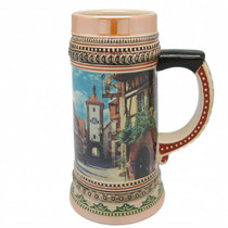 "A great gift collectible picturing the famous German village of Rothenberg. This collectible decorative beer stein is part of a series of five steins from shot size to tankard size. Colorfully decorated collectible beer steins are popular around the world from Oktoberfest to social gatherings. The origin of German Beer Steins date back to the 14th century. In German speaking regions a stein may be known as ""Humpen"" (if stoneware) or ""Steinkrug"" (if earthenware). ""Beer Stein"" derives from the German words ""Bier"" (beer) and ""Steinkrug"" (literally stone crock)."