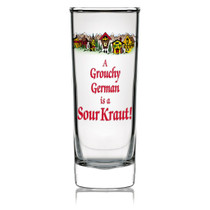 "Add this unique collectible German souvenir shot glass to your collection. This novelty clear shot glass features the classic saying ""A Grouchy German Is A Sour Kraut"" making for a great gift or collectible. Approximate Dimensions (Length x Width x Height): 4x1.5x1.5"" Material Type: Glass"