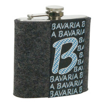 Stainless steel hip flask with grey felt cover and woven decoration