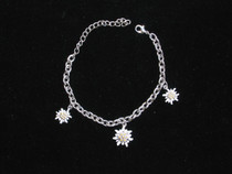 3 Edelweiss Charm bracelet, Imported from Germany