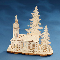 Wooden Church Candle Holder