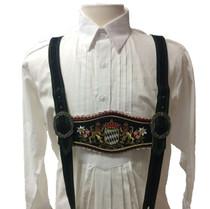 Black Lederhosen Suspenders, Bayern / Bavarian Crest
