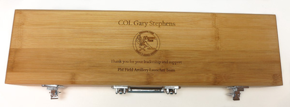 This three piece bamboo custom engraved barbecue set makes a great military, or public service retirement gift!