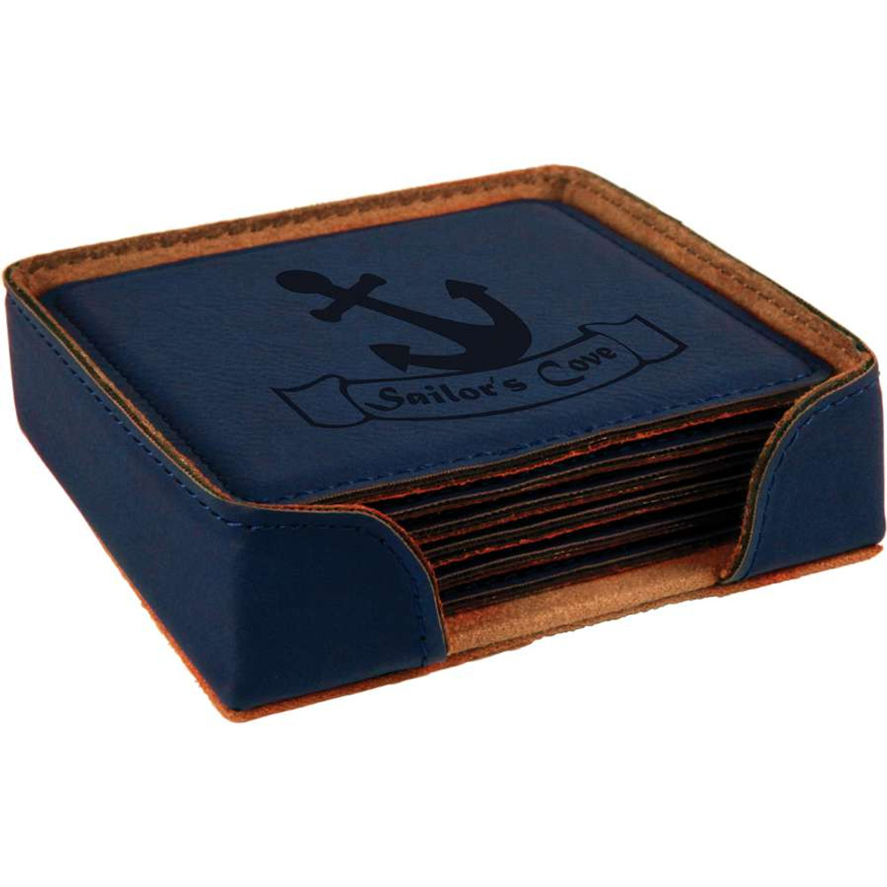 Navy blue leather coasters fit match your hard to compare blue paint.