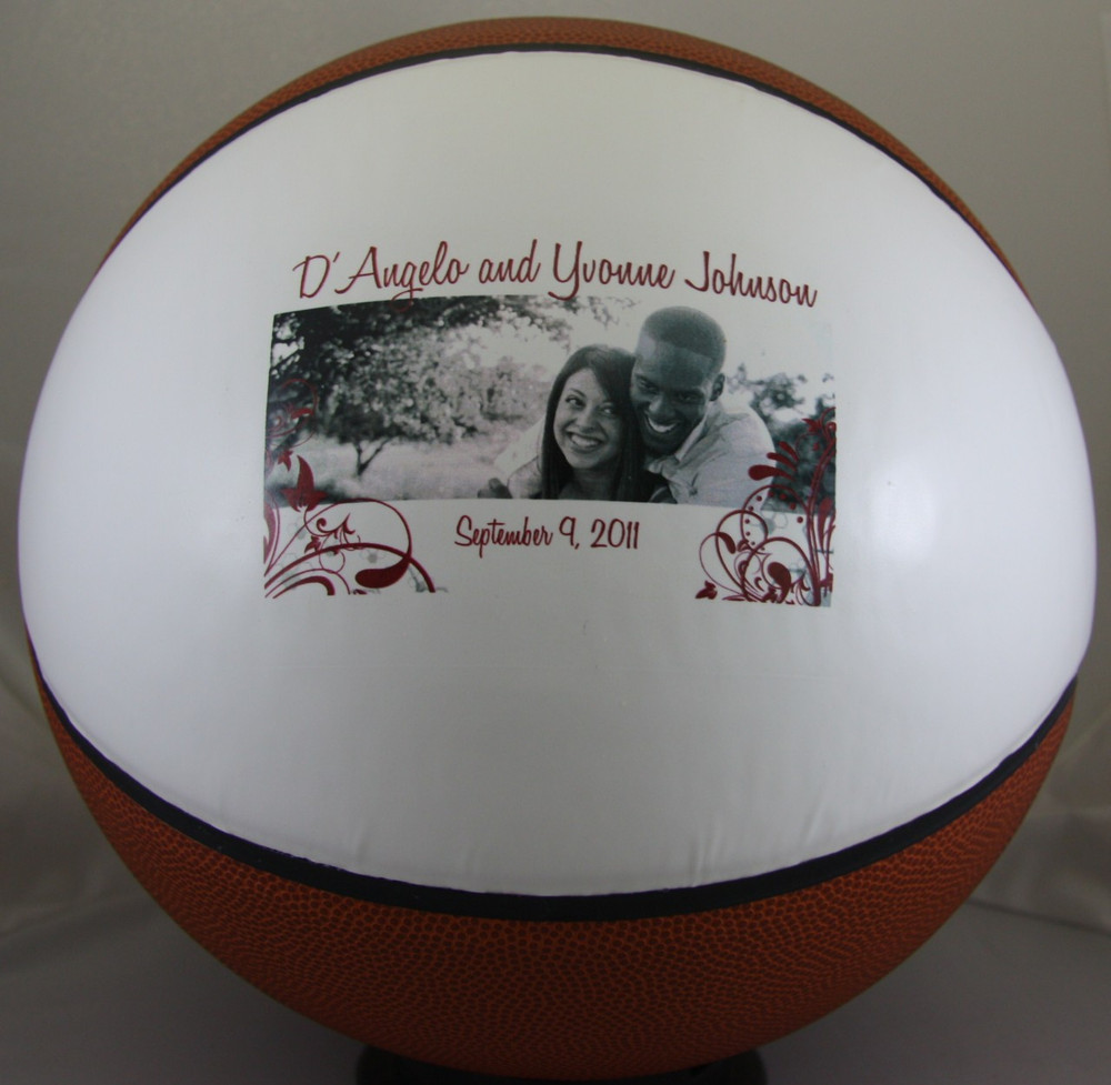 Full Size Basketball personalized for anniversary gift.