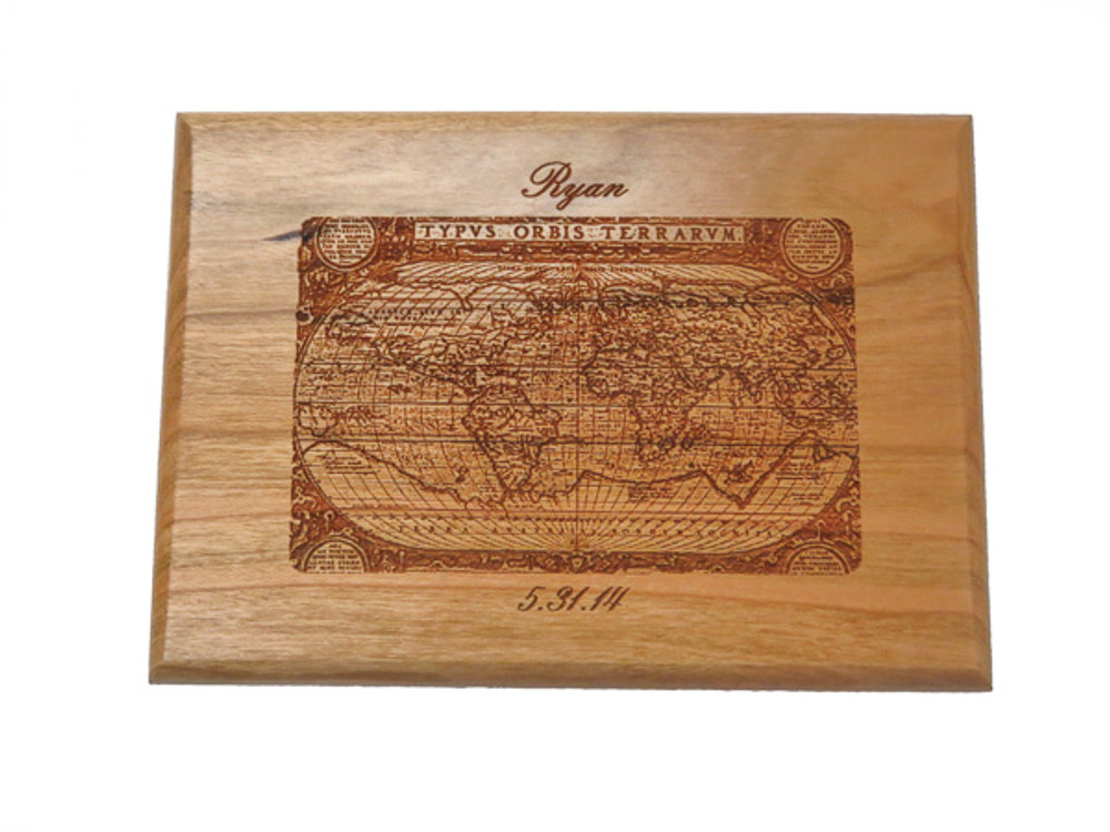 Nautical map engraved on wooden box to commemorate travels around the globe.