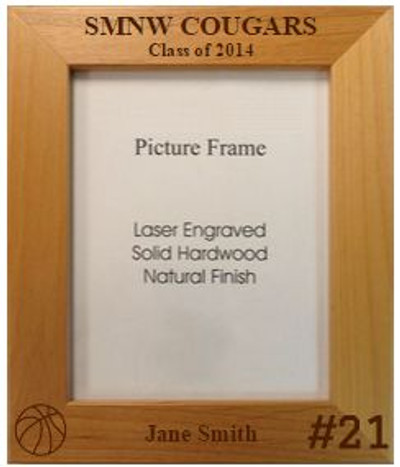 Personalized Sports Picture Frame for basketball, baseball, football, soccer, volleyball, etc.