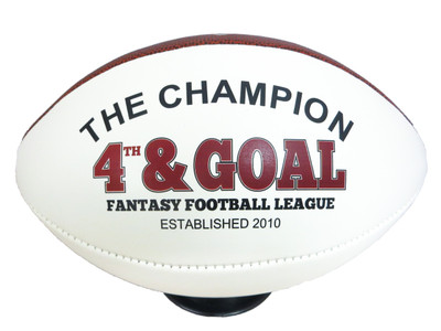 Fantasy football league champion footballs make a unique trophy for a stellar season!