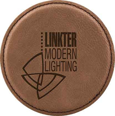 Dark Brown leatherette coaster with dark engraving work great to promote your brand!