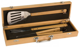 Personalized 3 Piece Bamboo BBQ Set in Bamboo Case