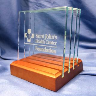 Custom Square Glass Coaster Set for St. John's Health Center
