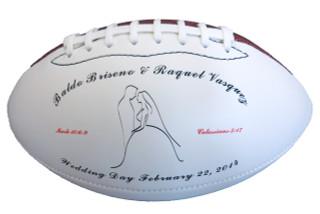 Wedding day groom keepsake football.
