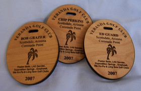 Personalized wood bag tags laser engraved with your company, team, or school logo and special text make great corporate gifts, prizes and giveaways for your next tournament. These golf bag tags have a buckle to conveniently attach to your golf bag. Great for identifying who you are and show off where you have played.