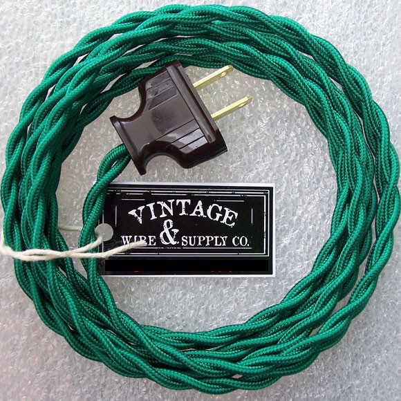 Green Rayon Cloth Covered Electrical Wire Kit With Antique