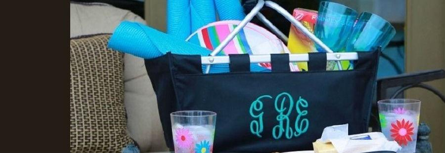 Monogrammed black large market tote with turquoise thread. Perfect picnic basket. Ships in 3 days