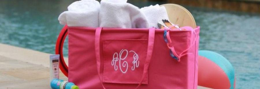 Monogrammed extra large ultimate carryall tote in pink with the monogram script font. Ships in 3 days