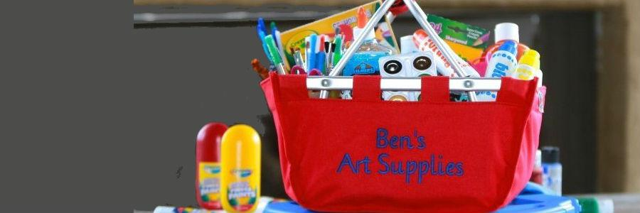 Red mini monogrammed market tote basket filled with art supplies. Great gift. Ships in 3 days
