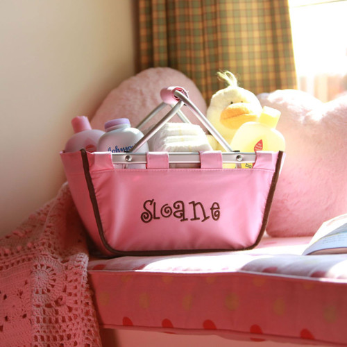 Monogrammed light pink with brown piping mini market tote with our caboodle font is adorable!