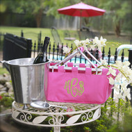 Monogrammed pink large market tote is fun to take to the pool, on errands and makes a great gift!
