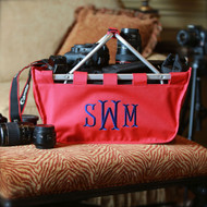 Our red monogrammed market tote is a nice, easy to carry camera bag.