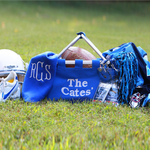 Large royal blue monogrammed market tote is a perfect gift for a University of Memphis fan!