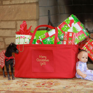Monogrammed red extra large ultimate carry all tote is a great portable toy box.
