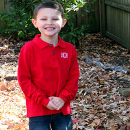 Long sleeve red monogrammed polo is perfect for out door family pictures, holiday cards and matching siblings.
