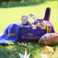 A large purple monogrammed market tote says....I thought about you in advance and you are special!