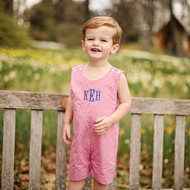 Monogrammed red gingham shortall-jon jon includes extra buttons for altering the length to wear longer.