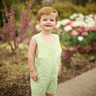 Our monogrammed green gingham shortall-jon jon can be worn year round with a t-shirt or sweater.