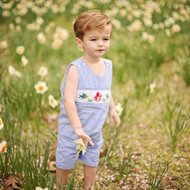 Smocked ocean animal shortall jon jon on blue gingham fabric matches smocked ocean dress.