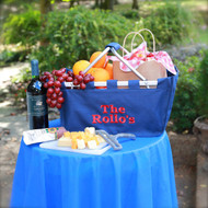 Monogrammed large navy market tote personalized with red thread in the block font is romantic gift!