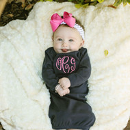 Monogrammed navy blue baby gown for a boy or girl is a precious gift!