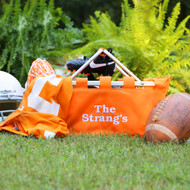 Large orange market tote is monogrammed with white thread in the Avante font!