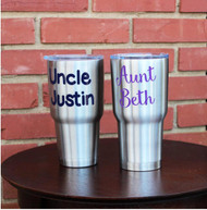 Aunt Beth and Uncle Justin decals on matching cups.