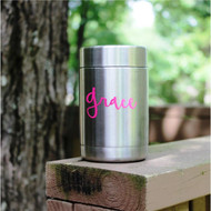 Can holder with a pink name decal.