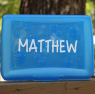 Pencil box with a name decal.