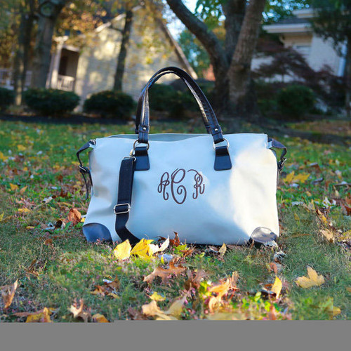 Monogrammed khaki with brown trim weekender bag is perfect for short trips and overnights.
