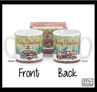 "A ""Merry Christmas"" message Christmas mug with a winter scene has an old red truck on one side of the mug and a camper on the other side."