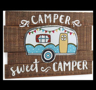 Camper Sweet Camper large wood sign.