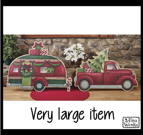 Very large camper and truck Christmas scene.