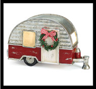 Light up tin and red brick camper is a perfect Christmas gift!