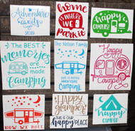 Camping decals in a variety of designs.