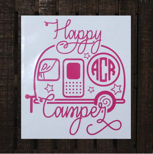 Happy Camper decal with monogram initials.