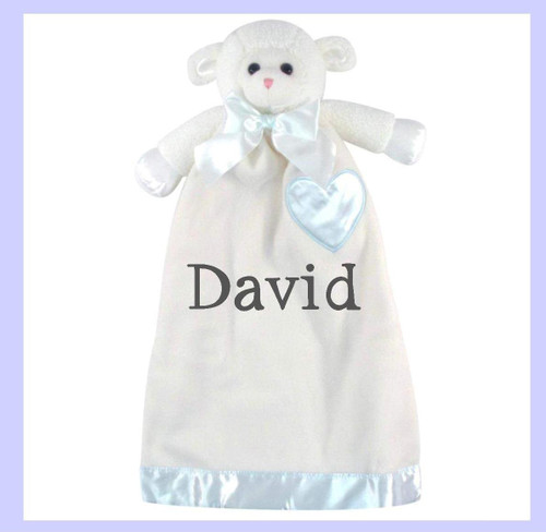 Lenny the Blue Lamb can be monogrammed with a name or initial.